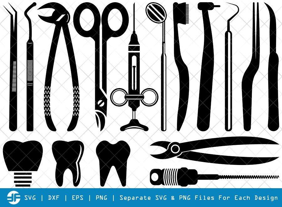 Dentist SVG Cut Files | Dentist Tool Silhouette Bundle