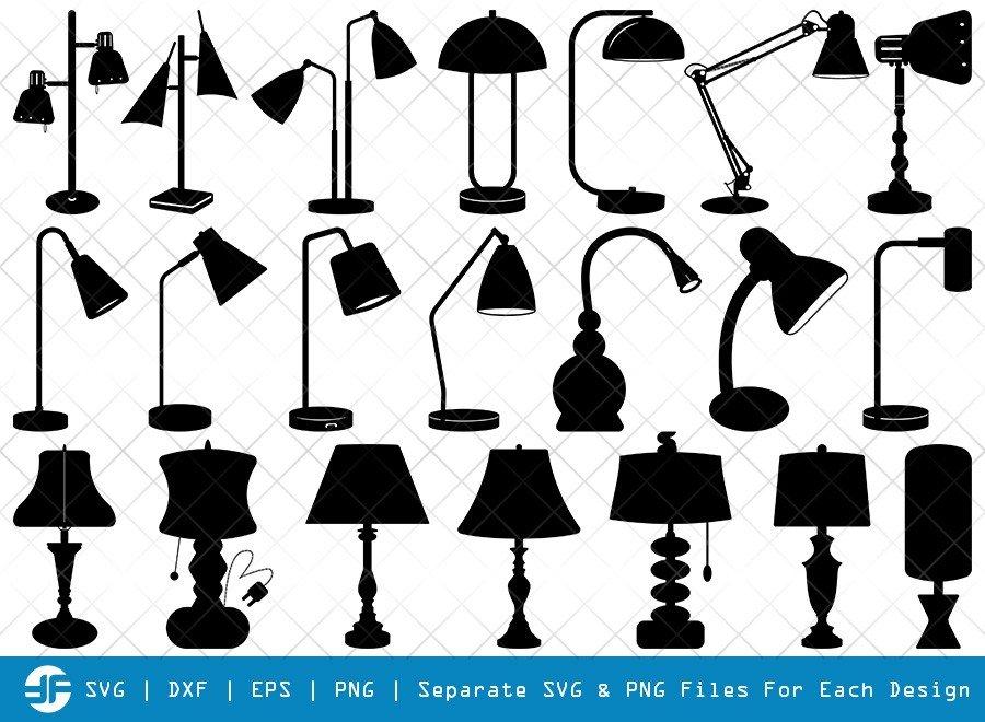 Desk Lamp SVG Cut Files   Architect Lamp Silhouette Bundle
