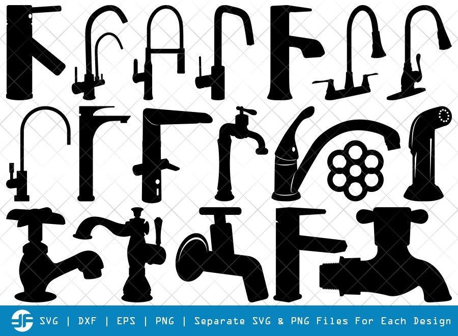 Faucet SVG Cut Files | Water Tap Silhouette Bundle