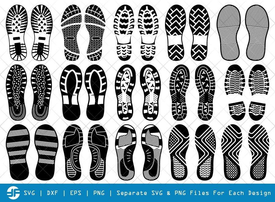 Human Shoes Footprints SVG Cut Files   Silhouette Bundle