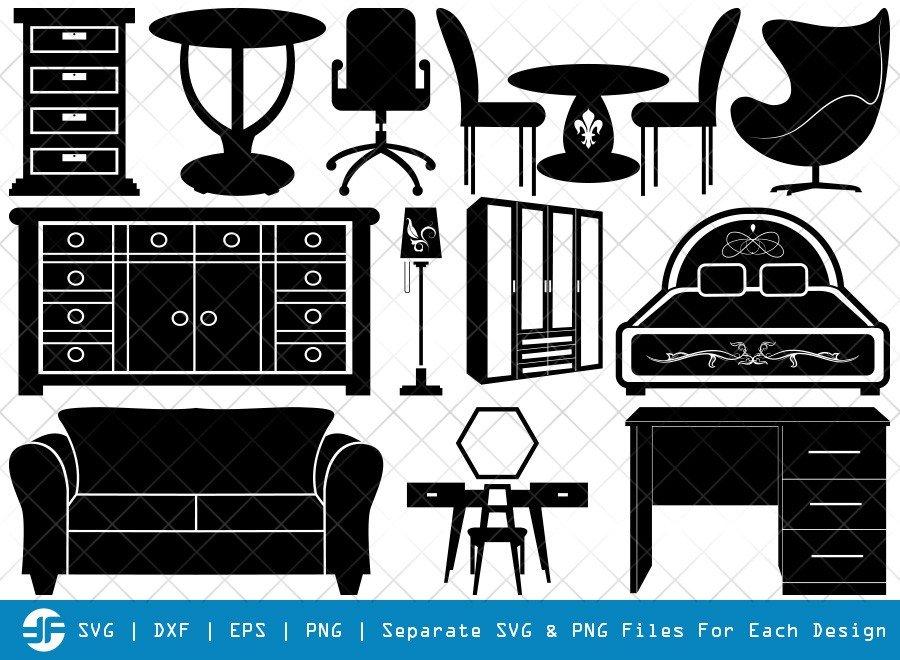 Furniture SVG Cut Files | Furniture Silhouette Bundle