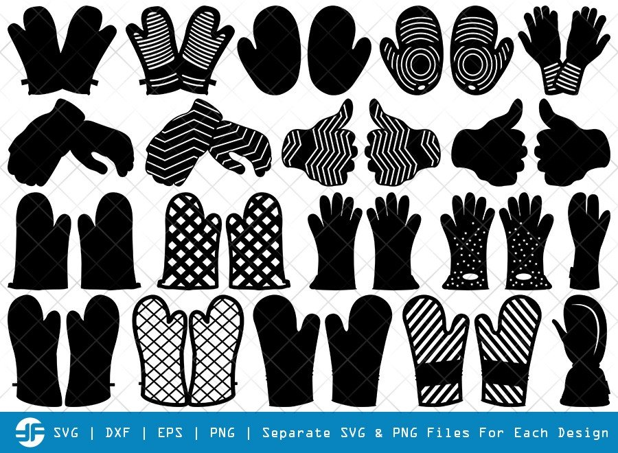 Heat Protective Mitten SVG Cut Files   Mitts Silhouette Bundle