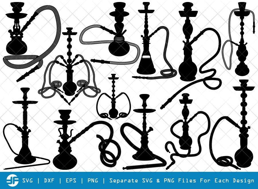 Hookah Pipe SVG Cut Files | Hookah Silhouette Bundle