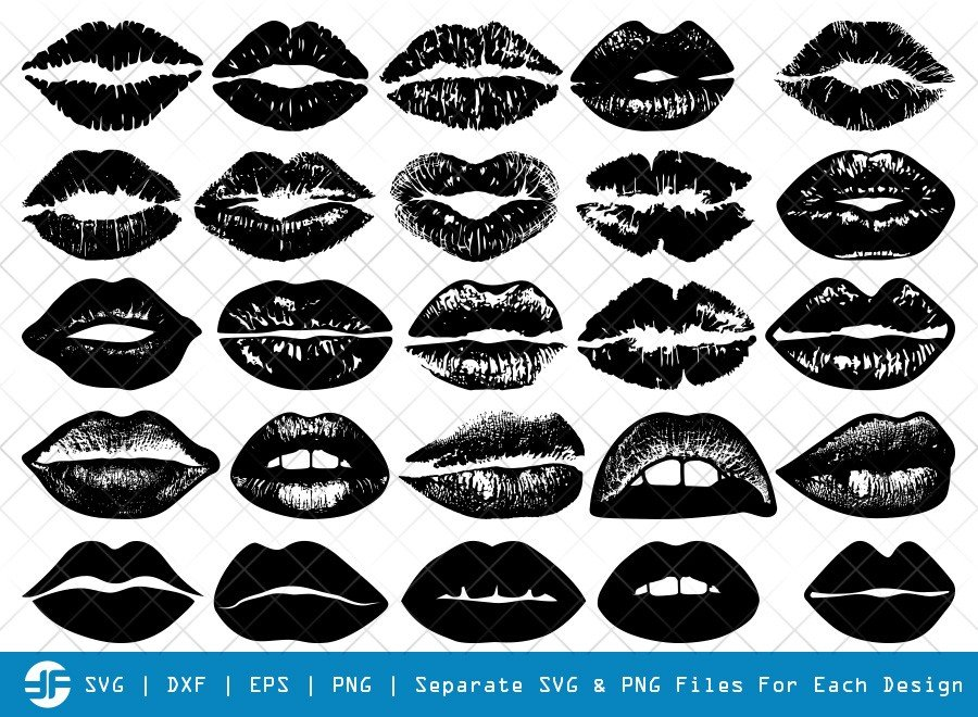 Lips SVG Cut Files | Kissing Lip Silhouette Bundle