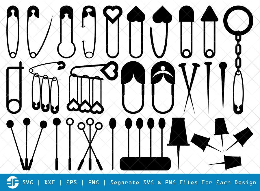 Safety Pin SVG Cut Files | Open Safety Pin Silhouette