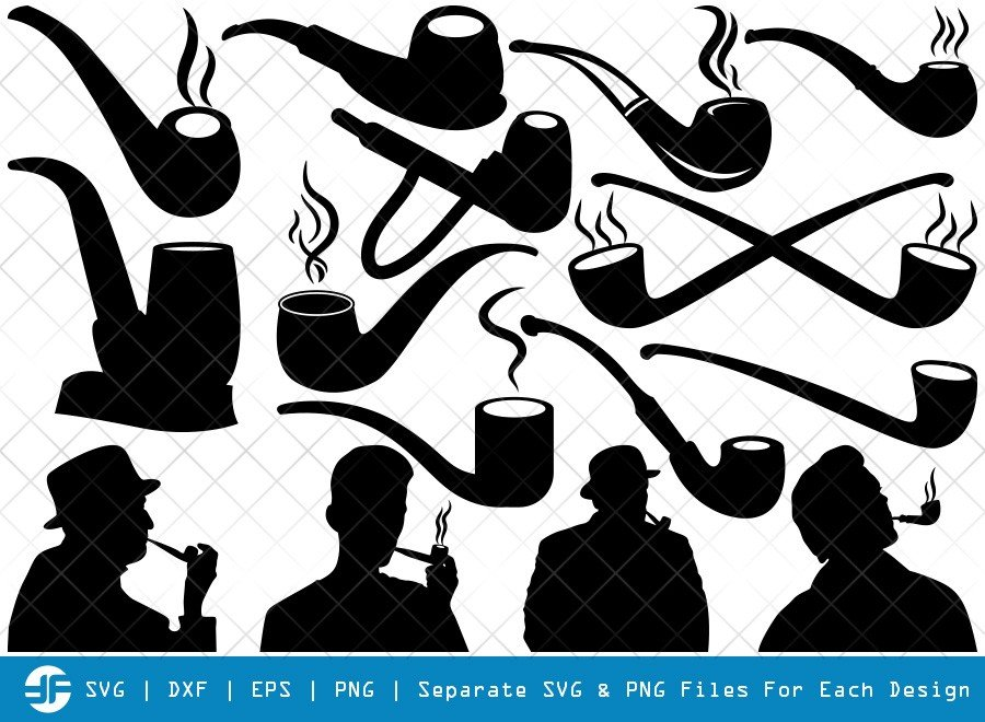 Tobacco Smoke Pipe SVG Cut Files | Man Smoking Silhouette