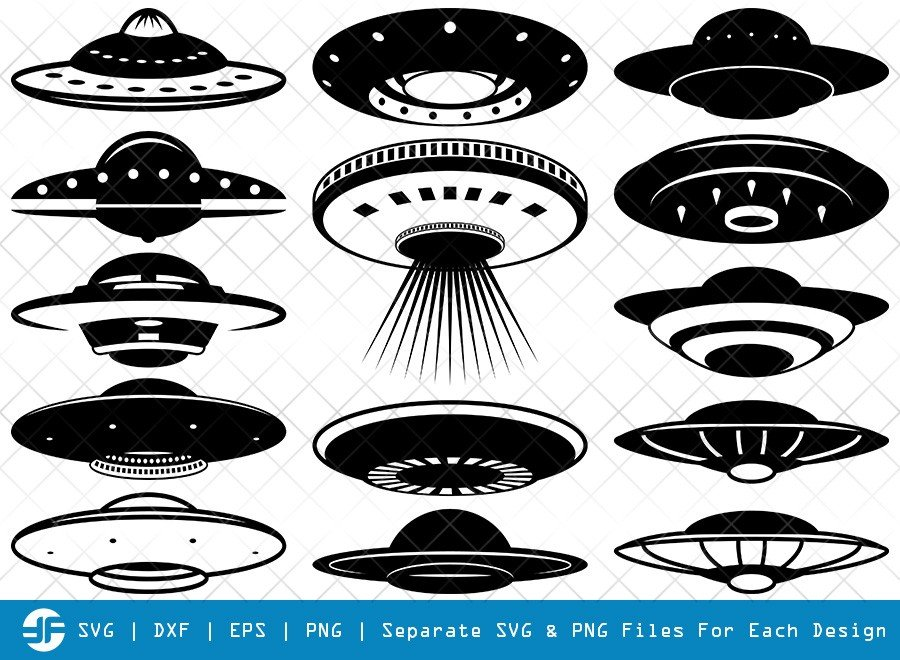 UFO SVG Cut Files | Spaceship Silhouette Bundle