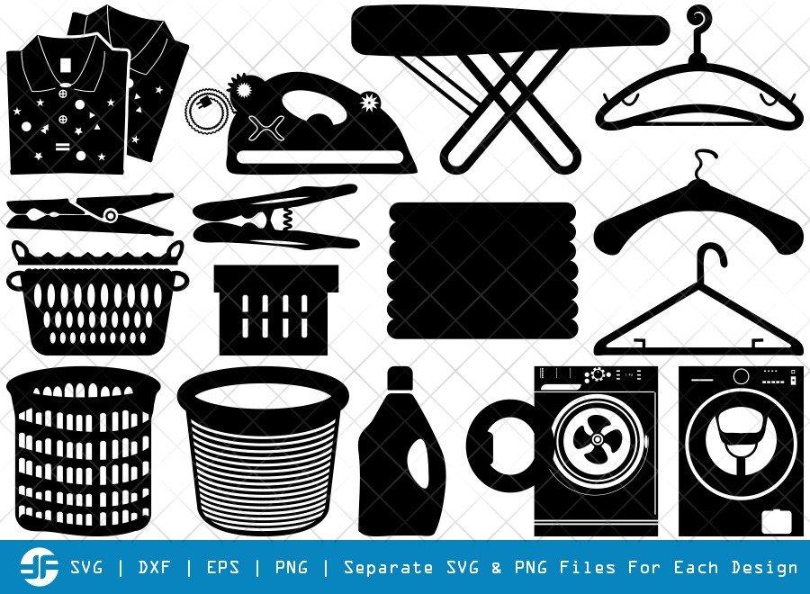 Washing Laundry SVG Cut Files | Washing Machine Silhouette