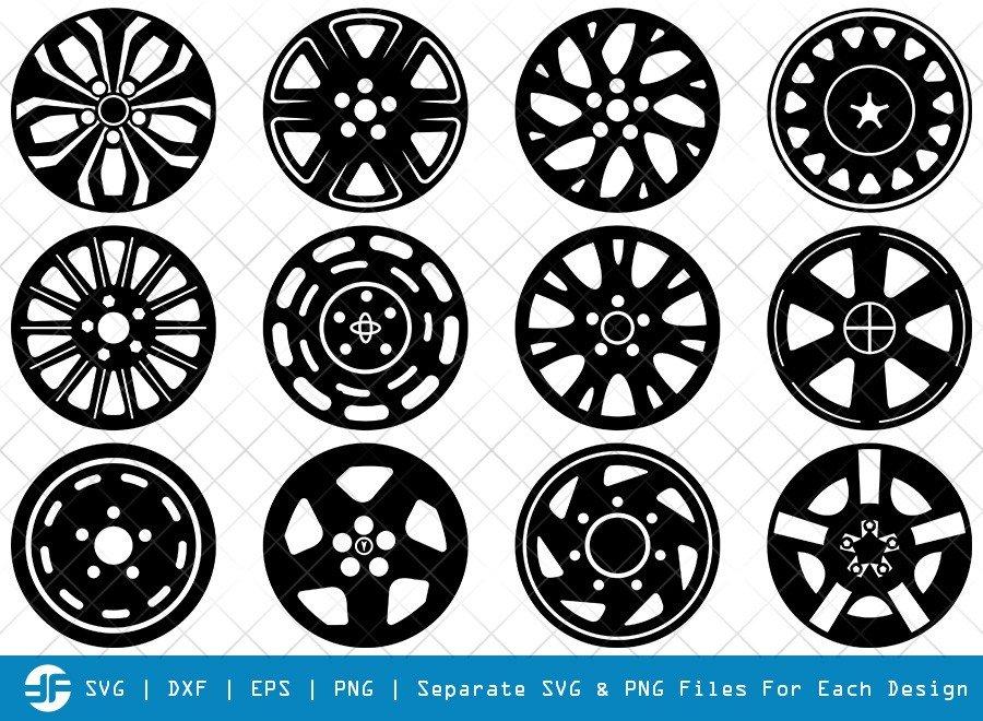 Wheel Hubcap SVG Cut Files | Hubcap Silhouette Bundle