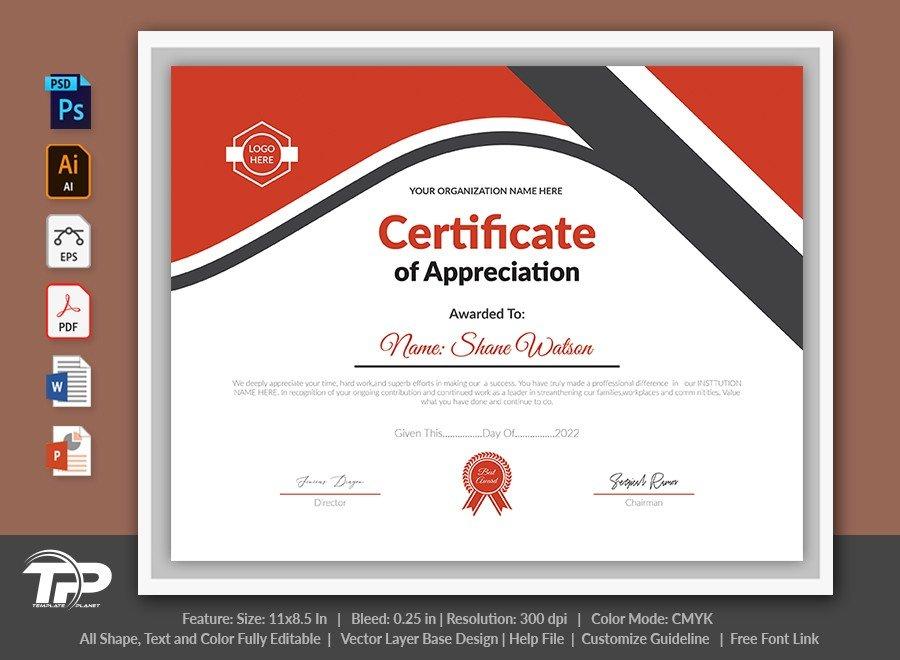 Printable Certificate of Appreciation Template | COA008