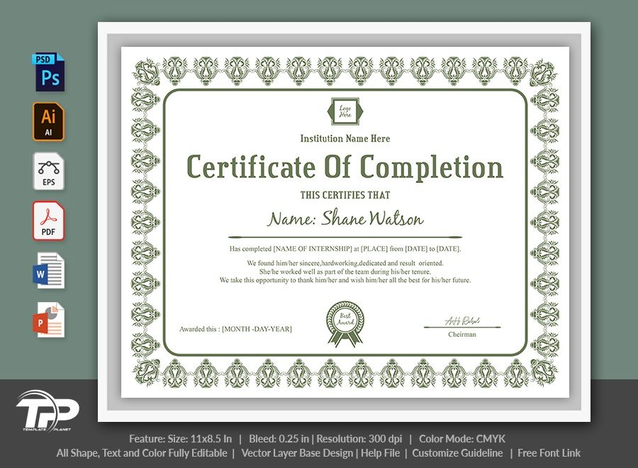 Certificate of Completion Template | COC010