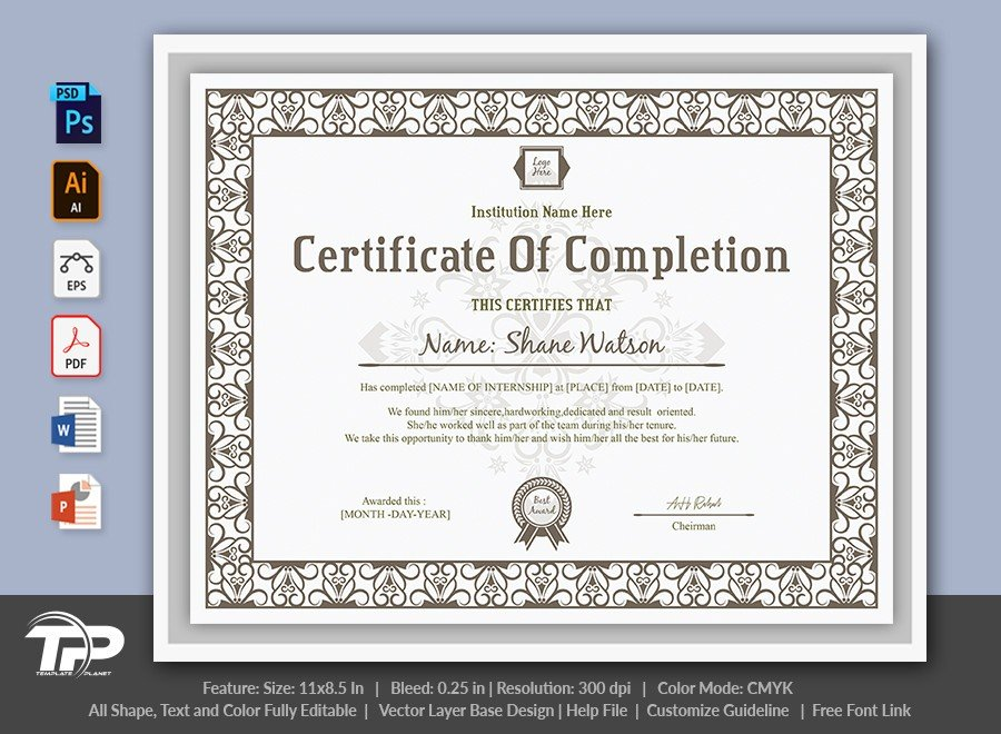 Certificate of Completion Template   COC006
