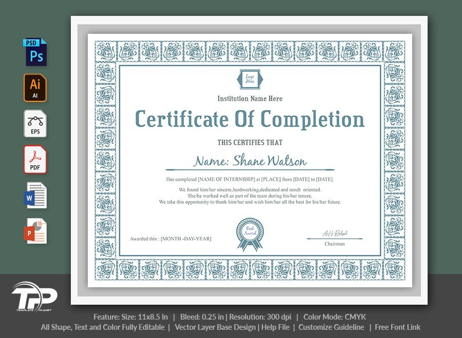 Certificate of Completion Template   COC007
