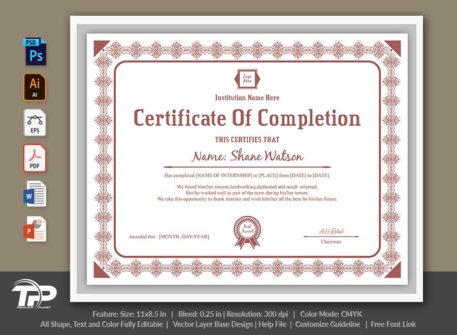 Certificate of Completion Template   COC008