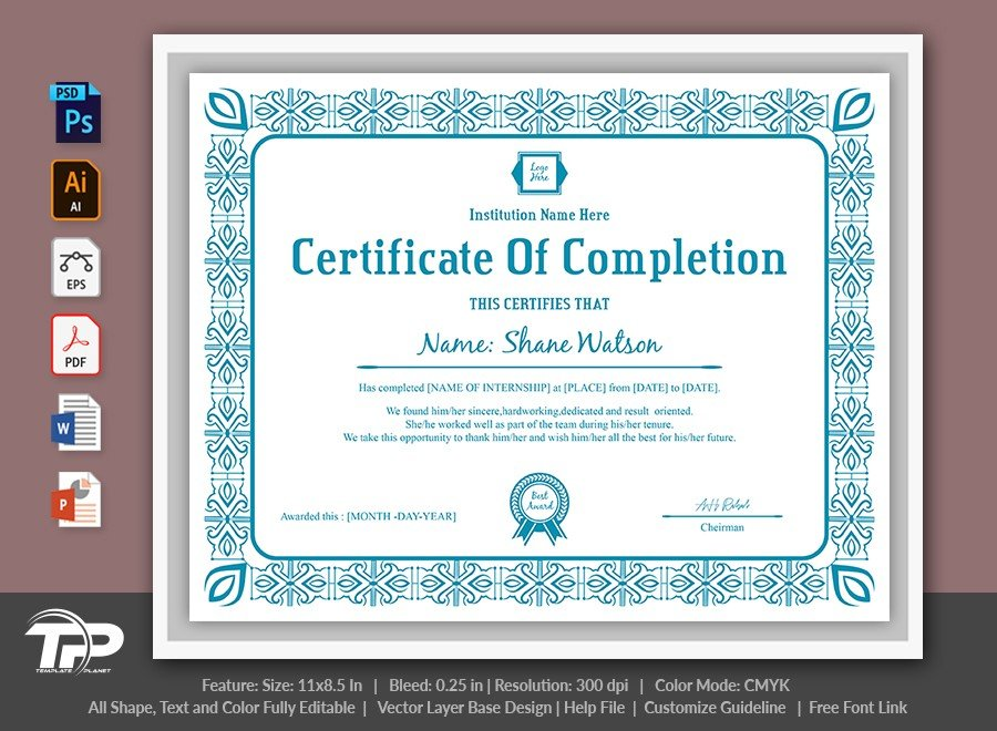 Certificate of Completion Template   COC009