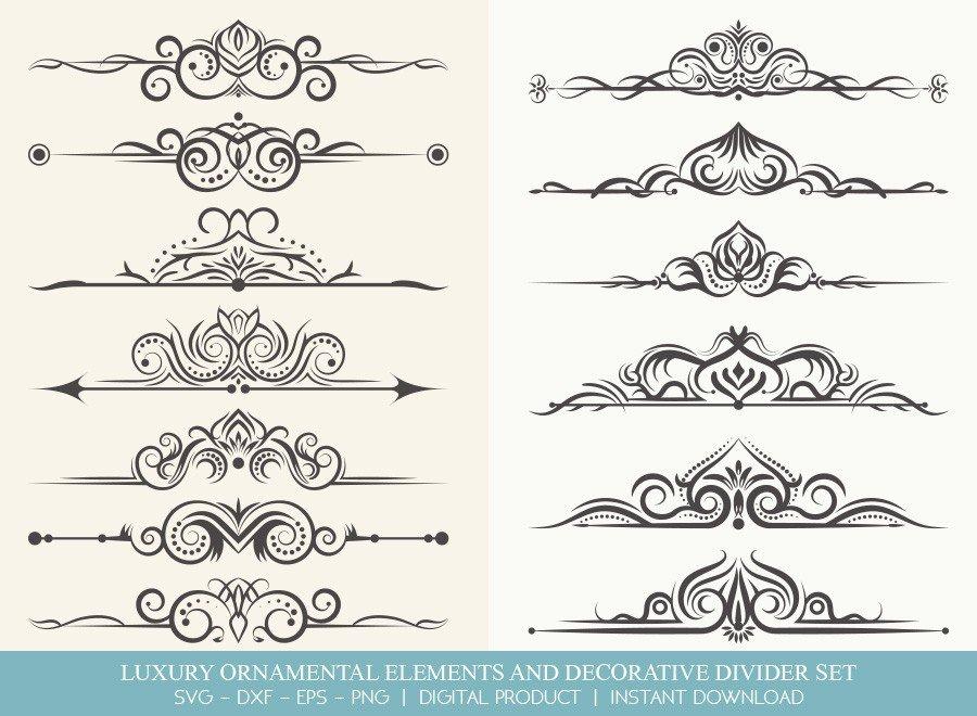 Luxury Ornament Divider Set SVG Cut Files | DDS001