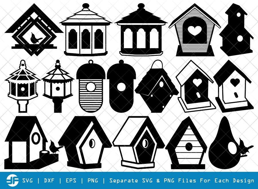 Bird House SVG Cut Files | Nest House Silhouette Bundle