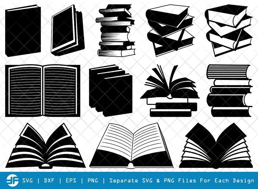 Book SVG Cut Files | Open Book Silhouette Bundle