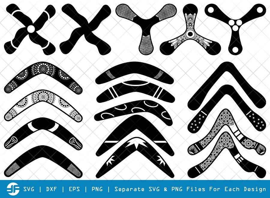 Boomerang SVG Cut Files | Boomerang Silhouette Bundle