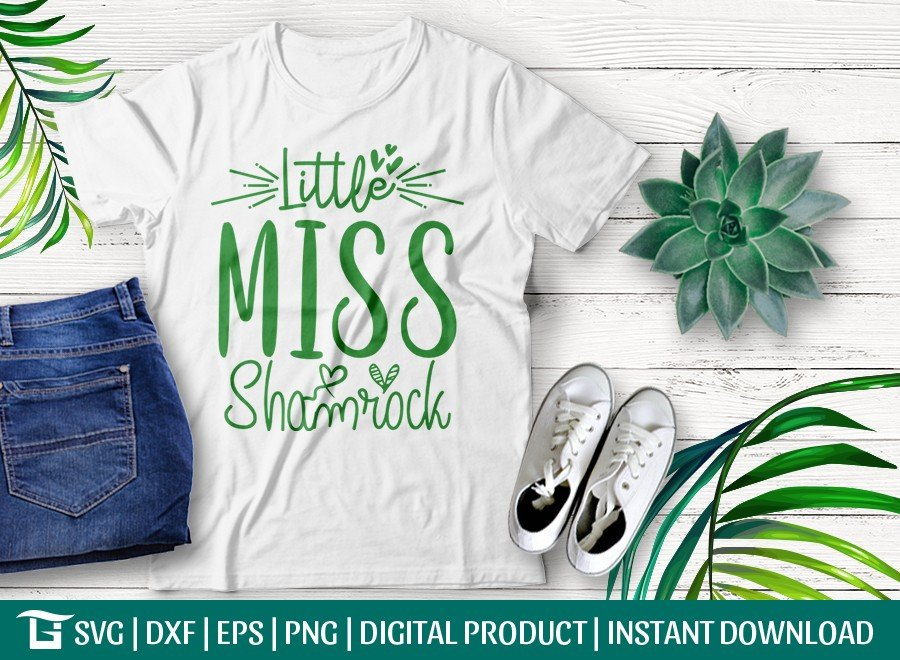 Little Miss Shamrock SVG Cut File | T-shirt Design