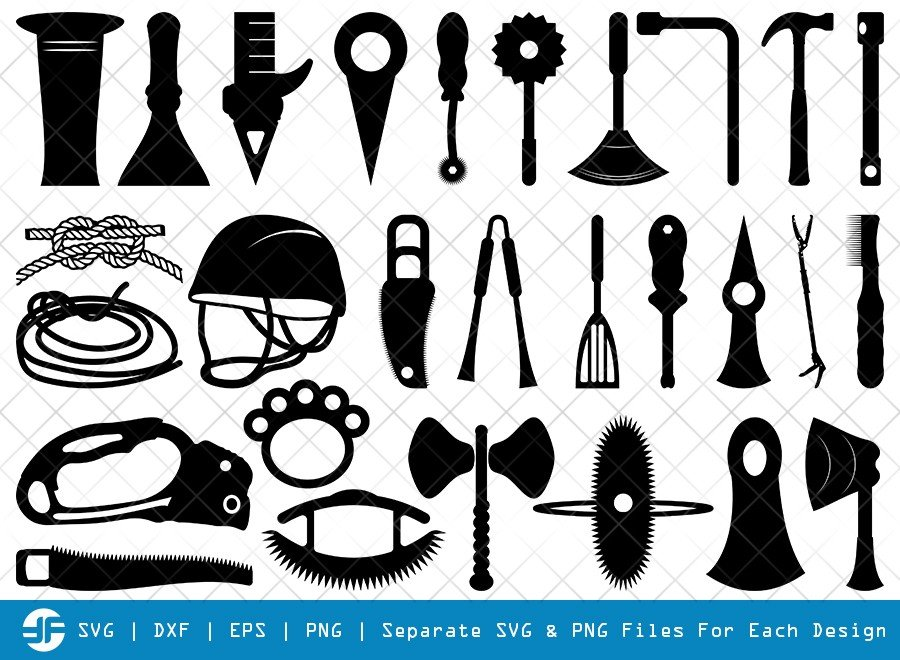 Mountaineers Tool SVG Cut Files | Climber Tools Silhouette