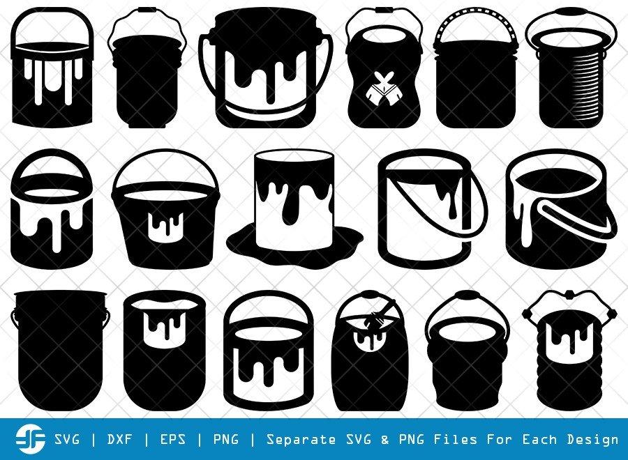 Paint Bucket SVG Cut Files | Painter Silhouette Bundle