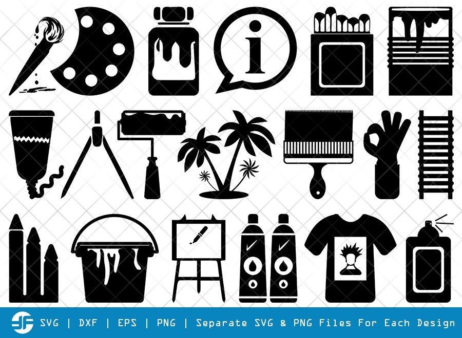 Paint Icons SVG Cut Files   Brush Paint Silhouette Bundle