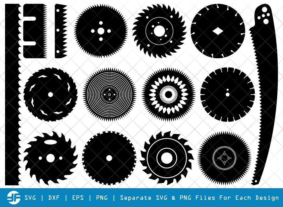 Saw Blade SVG Cut Files   Circular Saw Silhouette Bundle