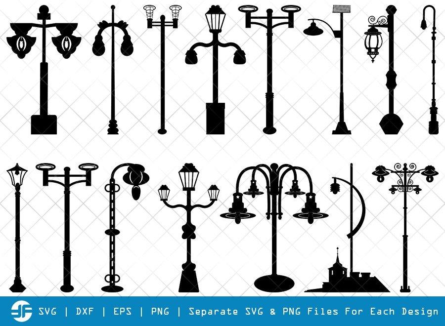 Street Lights SVG Cut Files   Street Lamp Silhouette Bundle