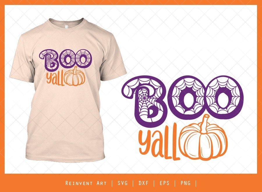 Boo Yall SVG Cut File | Cobweb SVG | Halloween Tshirt Design