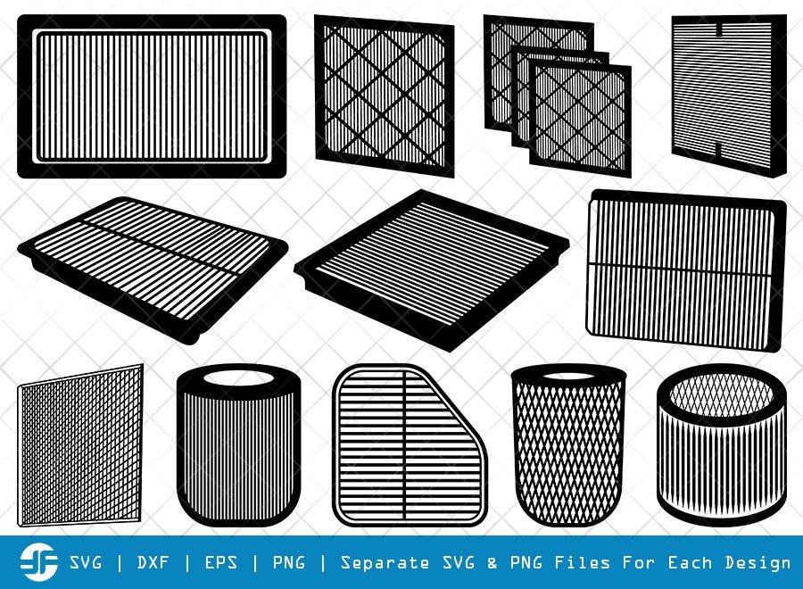 Air Filter SVG Cut Files   Ac Filter   Silhouette Bundle