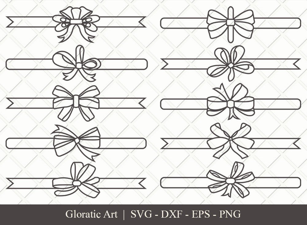 Bow and Ribbon Outline SVG Cut Files   Bow Ribbon Svg