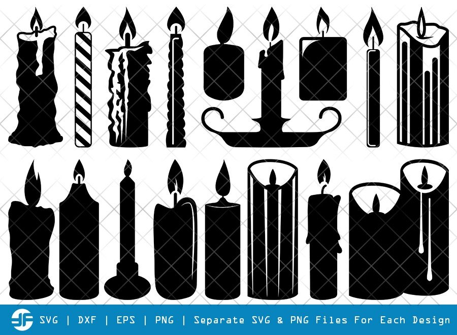 Candle SVG Cut Files   Lighted Candle   Silhouette Bundle