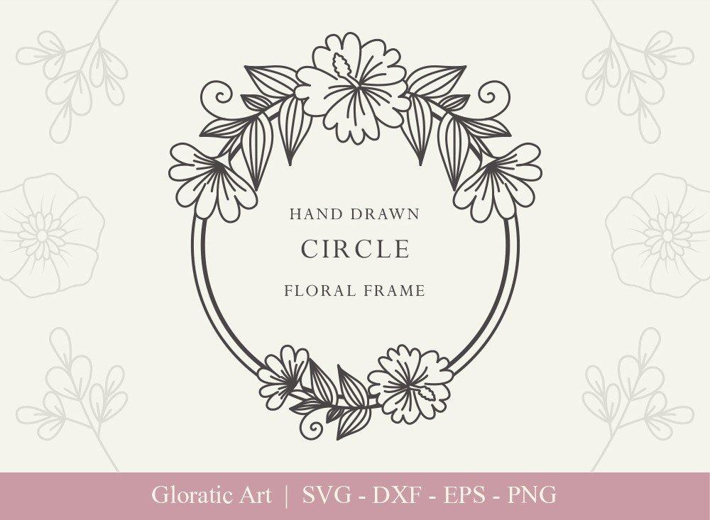Circle Floral Frame SVG Cut Files | CFF0016