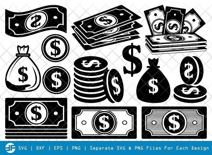 Dollars And Money SVG Cut Files | Dollars Silhouette Bundle