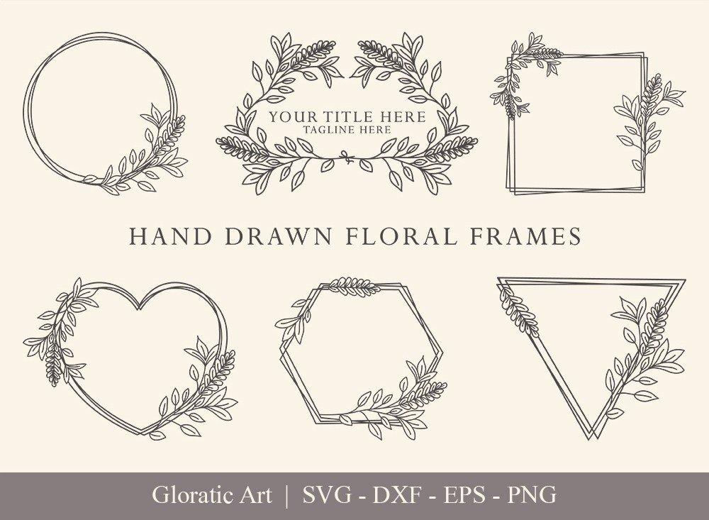 Floral Frame SVG Cut Files   Flower Wreath Bundle   FF002