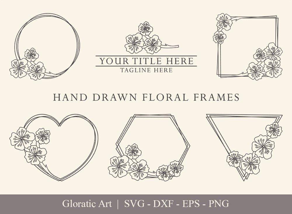 Floral Frame SVG Cut Files   Flower Wreath Bundle   FF005