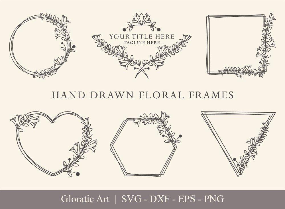Floral Frame SVG Cut Files   Flower Wreath Bundle   FF006