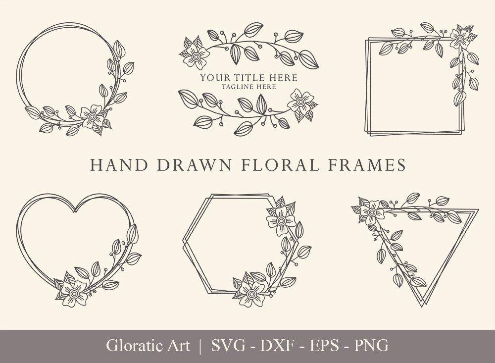 Floral Frame SVG Cut Files   Flower Wreath Bundle   FF007