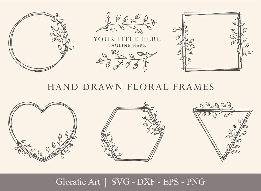 Floral Frame SVG Cut Files   Flower Wreath Bundle   FF008