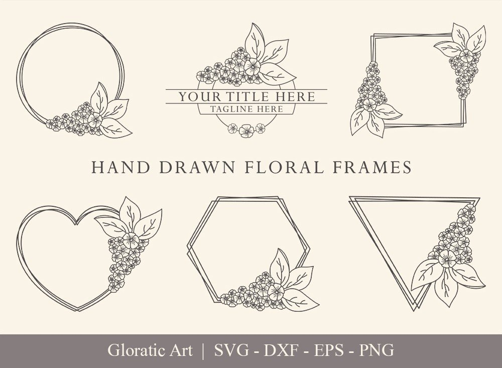 Floral Frame SVG Cut Files   Flower Wreath Bundle   FF009