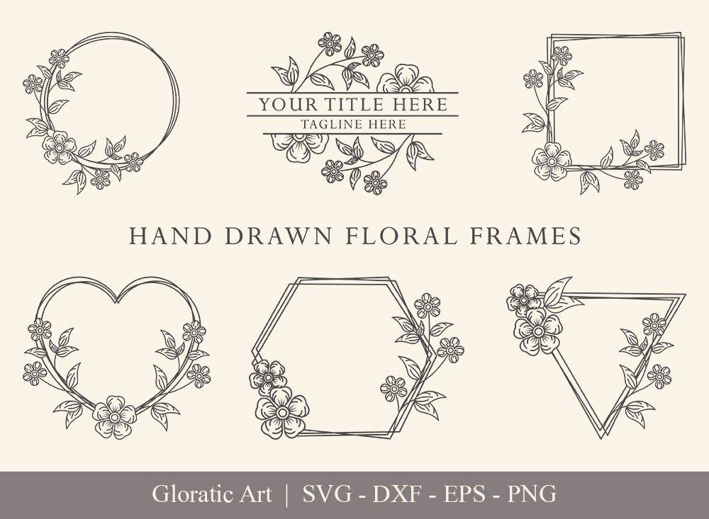 Floral Frame SVG Cut Files   Flower Wreath Bundle   FF0011