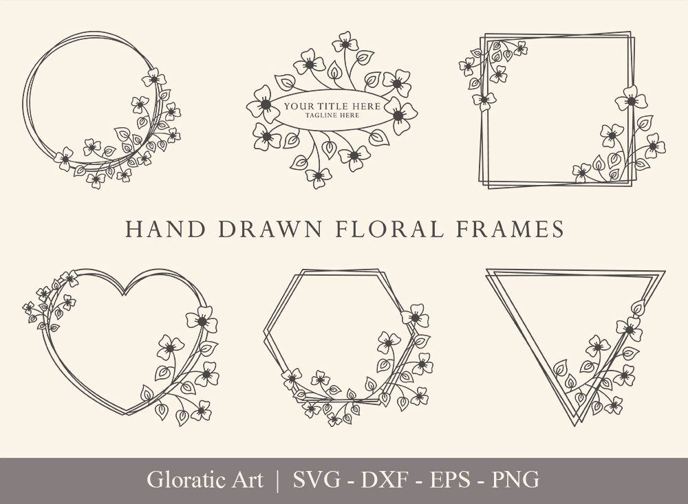 Floral Frame SVG Cut Files | Flower Wreath Bundle | FF0012