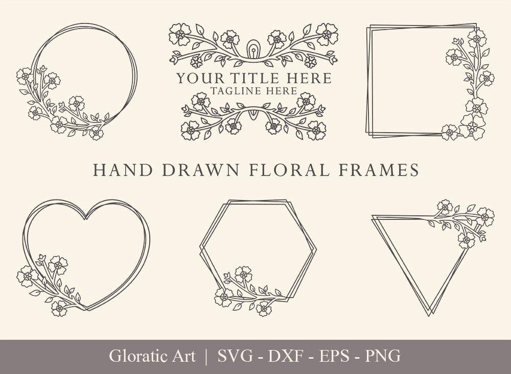 Floral Frame SVG Cut Files | Flower Wreath Bundle | FF0013