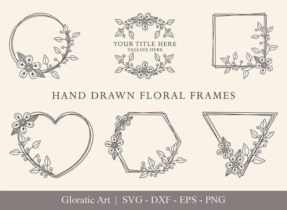 Floral Frame SVG Cut Files   Flower Wreath Bundle   FF0014