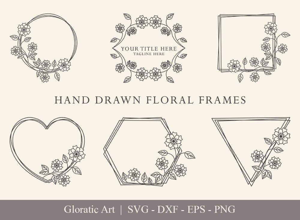 Floral Frame SVG Cut Files   Flower Wreath Bundle   FF0015