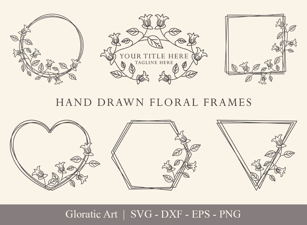 Floral Frame SVG Cut Files   Flower Wreath Bundle   FF0016
