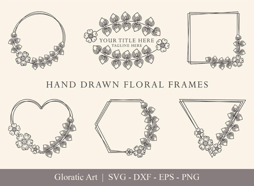 Floral Frame SVG Cut Files   Flower Wreath Bundle   FF0018