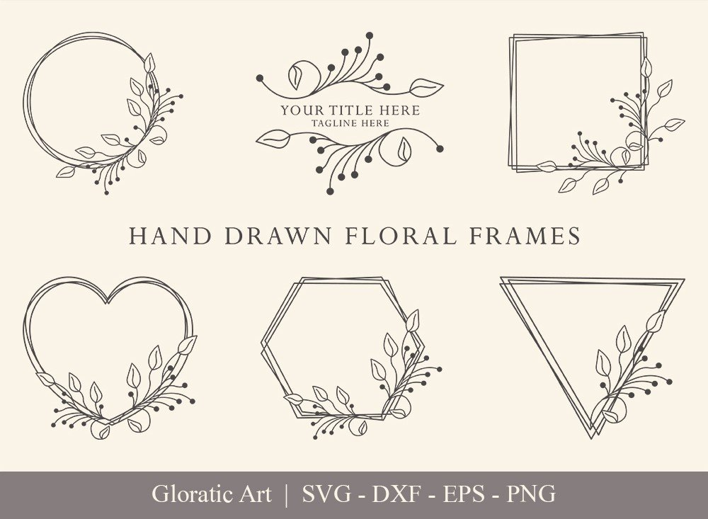 Floral Frame SVG Cut Files   Flower Wreath Bundle   FF0020