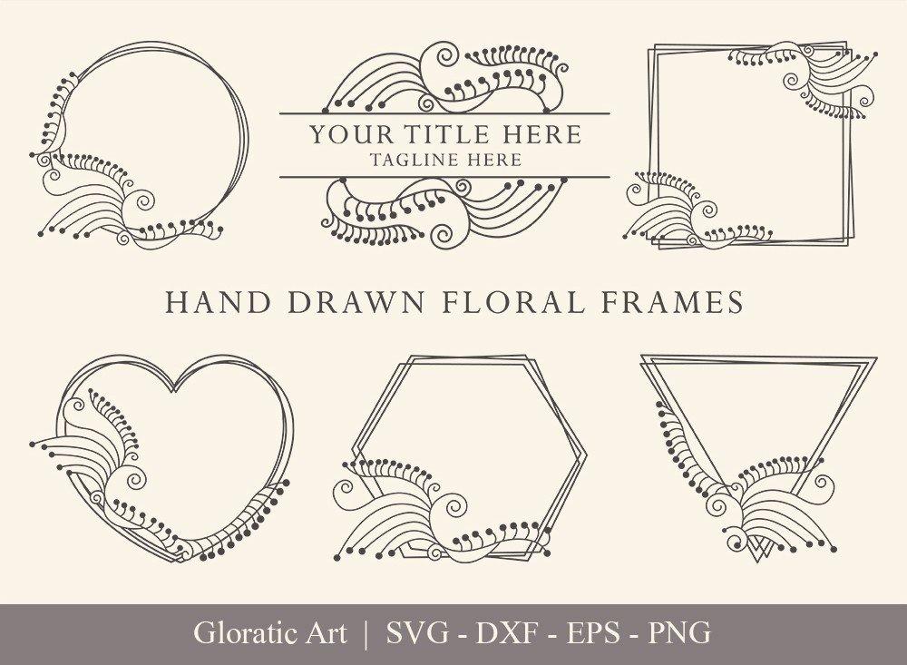 Floral Frame SVG Cut Files   Flower Wreath Bundle   FF0021